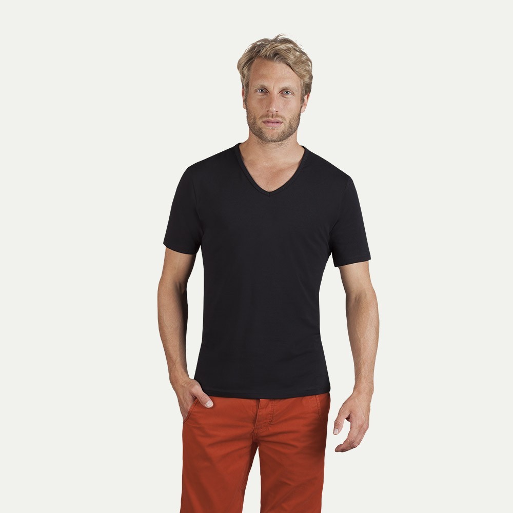 Slim fit v neck t shirt herren for Thick v neck t shirts