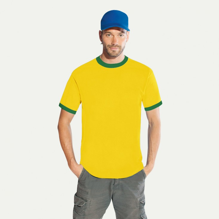 Kontrast T-Shirt gold-br. green Herren Sale