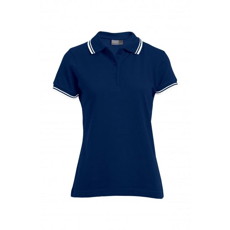Kontraststreifen Poloshirt Plus Size Damen
