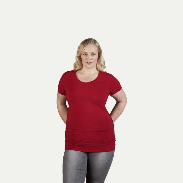"""V-Neck T-Shirt Slim Fit """"Lang"""" Grün Plus Size Damen SALE"""