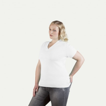 T-shirt maille côtelé col V grande taille Femmes promotion