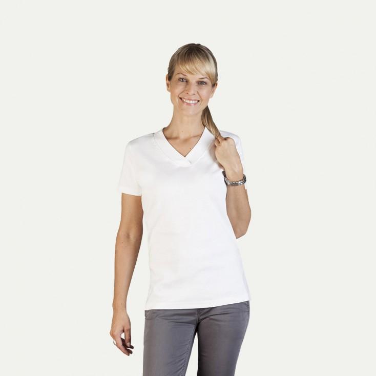 Ripp V-Ausschnitt T-Shirt Damen Sale