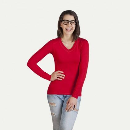Longsleeve V-Ausschnitt Damen Langarmshirt