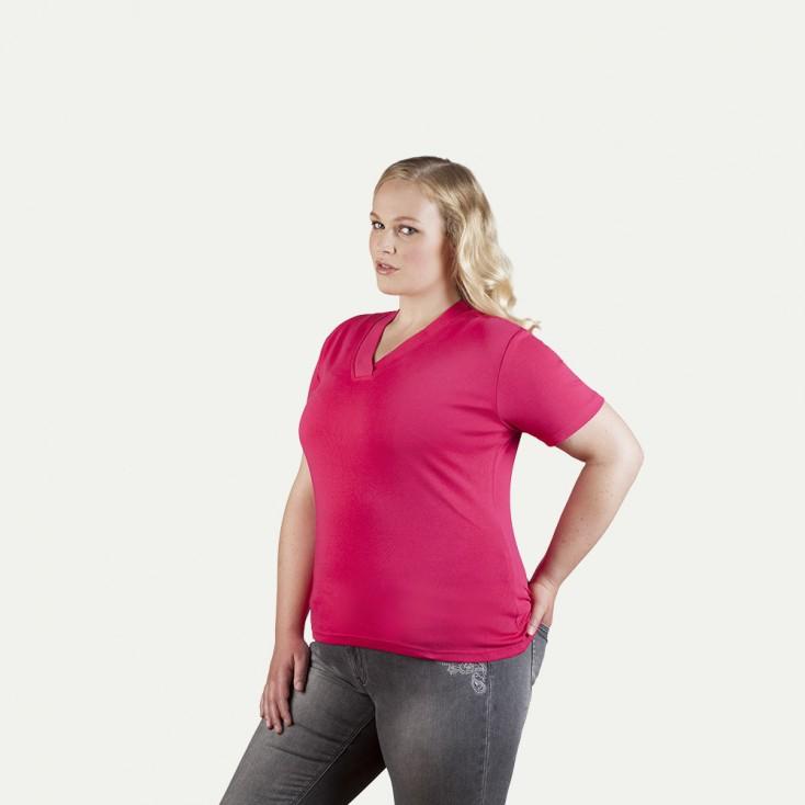Ripp V-Ausschnitt T-Shirt Plus Size Damen