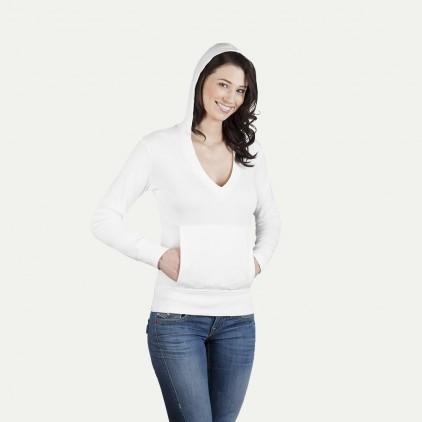 Sweatshirt à capuche femme col en V