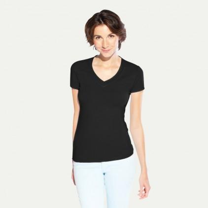 T-Shirt V-Ausschnitt Rot, Weiß Damen Sale