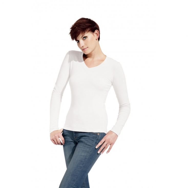 Wellness V-Ausschnitt Langarmshirt Damen Sale
