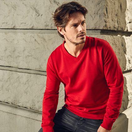 Premium V-Ausschnitt Sweatshirt Herren