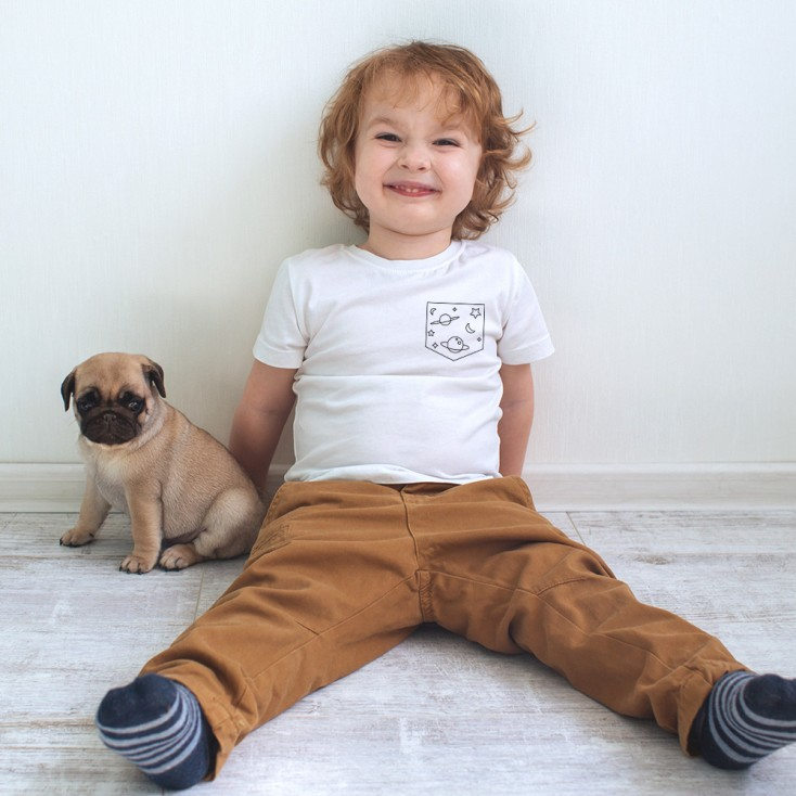 "Pocket Print ""Universe"" - T-shirt Bio Enfants"