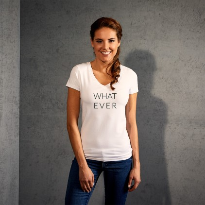 "Print ""What ever"" - Slim-Fit V-Ausschnitt T-Shirt Damen"