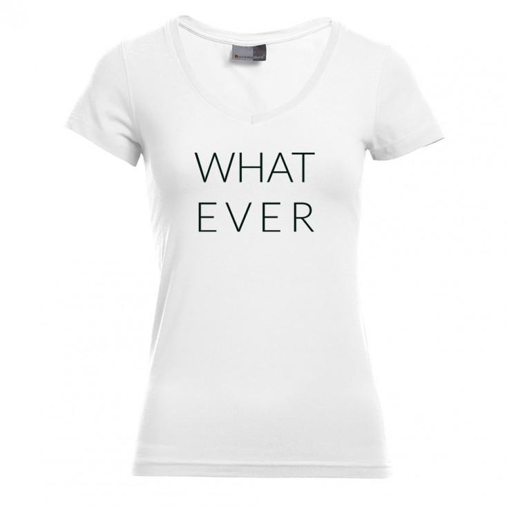"Print ""What ever"" - T-shirt slim col V grande taille Femmes"
