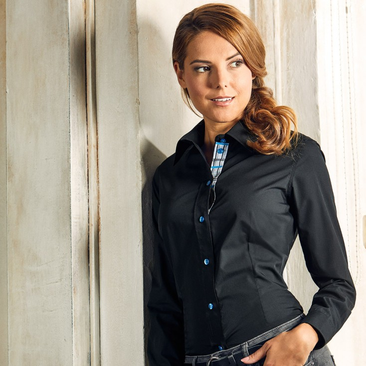 "Business Langarm-Bluse Grahpic ""411"" Damen"