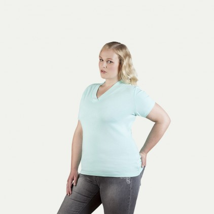Ripp V-Ausschnitt T-Shirt Workwear Plus Size Damen