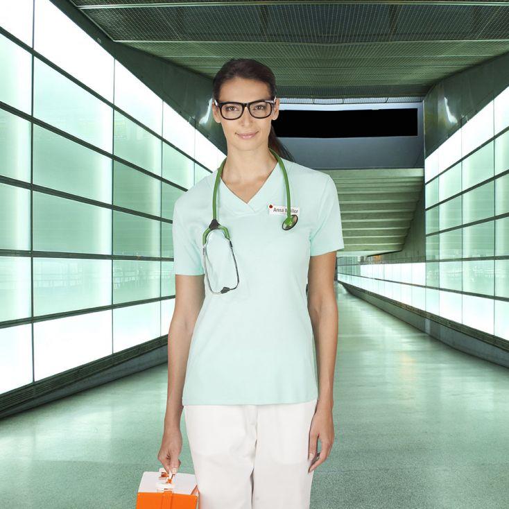 T-shirt maille côtelé col V workwear Femmes