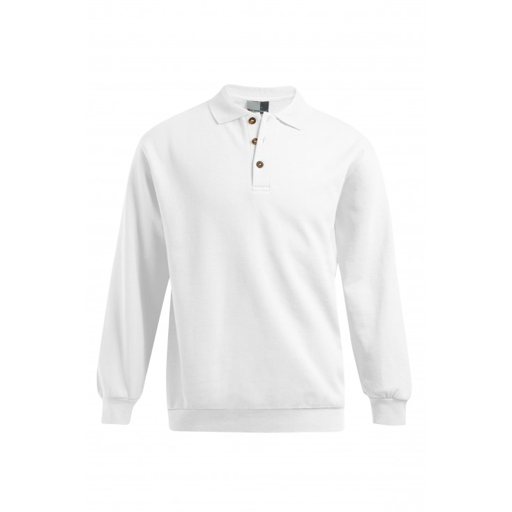 Polo sweat manches longues grande taille Hommes, gris clair chiné