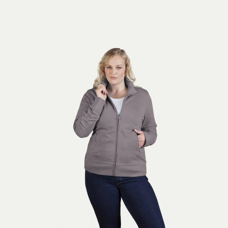 Stehkragen Zip Jacke Workwear Plus Size Damen