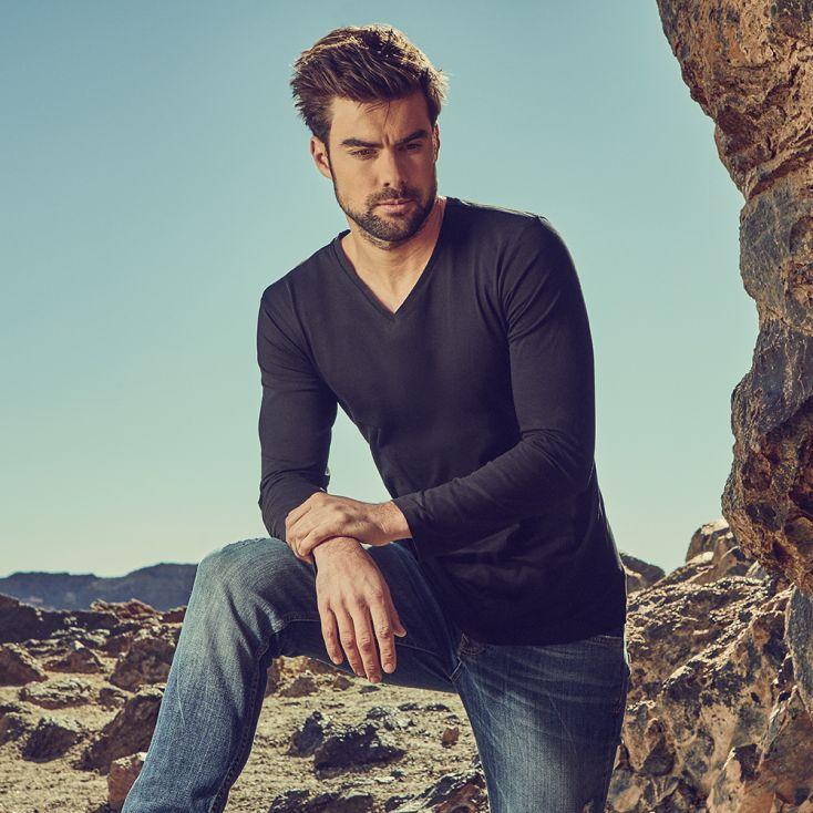 T-shirt manches longues col V Hommes