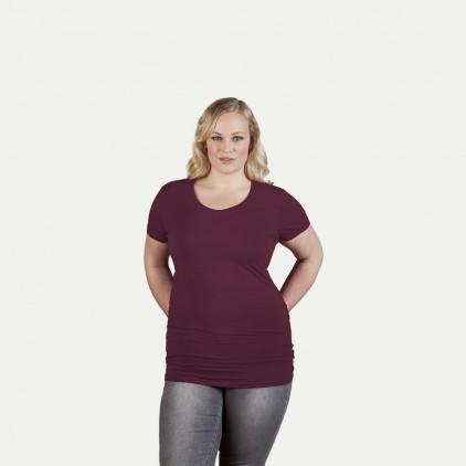 T-shirt long col V slim workwear grande taille Femmes