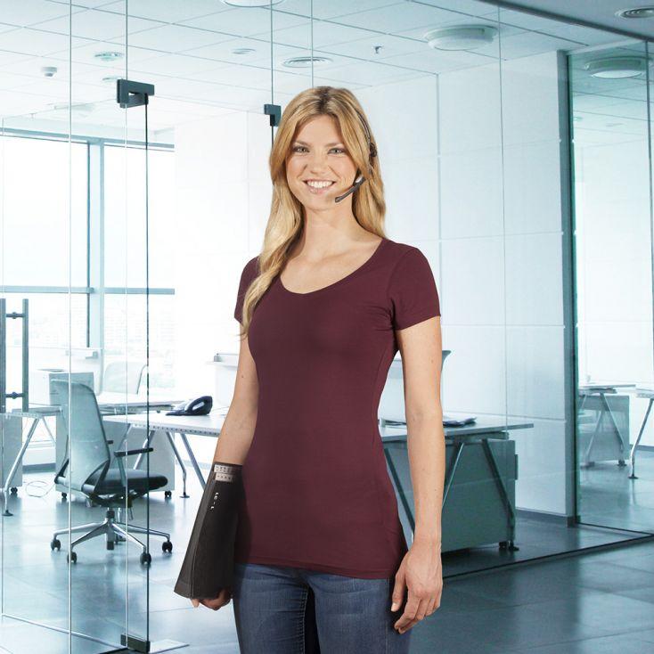 T-shirt long col V slim workwear Femmes