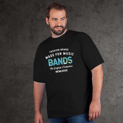 "Print ""promodoro made for music bands"" Premium T-Shirt Plus Size Herren"