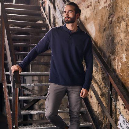 Heavy Langarm-Poloshirt Workwear Herren