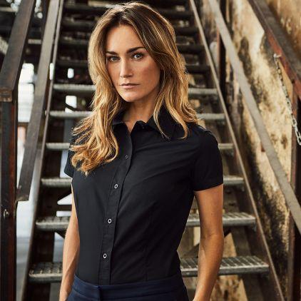 Business Kurzarm-Bluse Workwear Damen