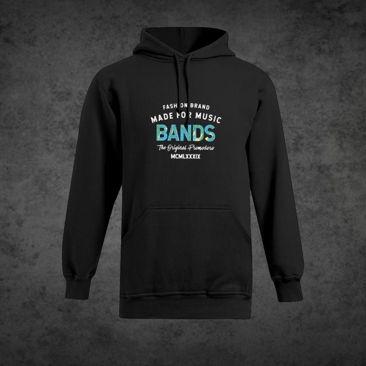 "Print ""promodoro made for music bands"" Heavy Hoodie Plus Size Herren"