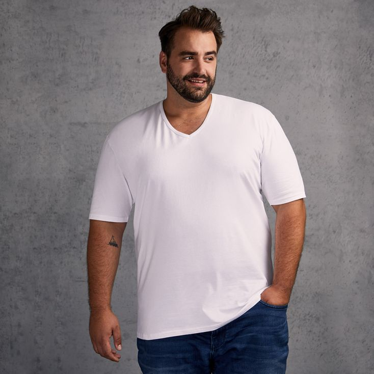 Slim-Fit V-Ausschnitt T-Shirt Plus Size Herren