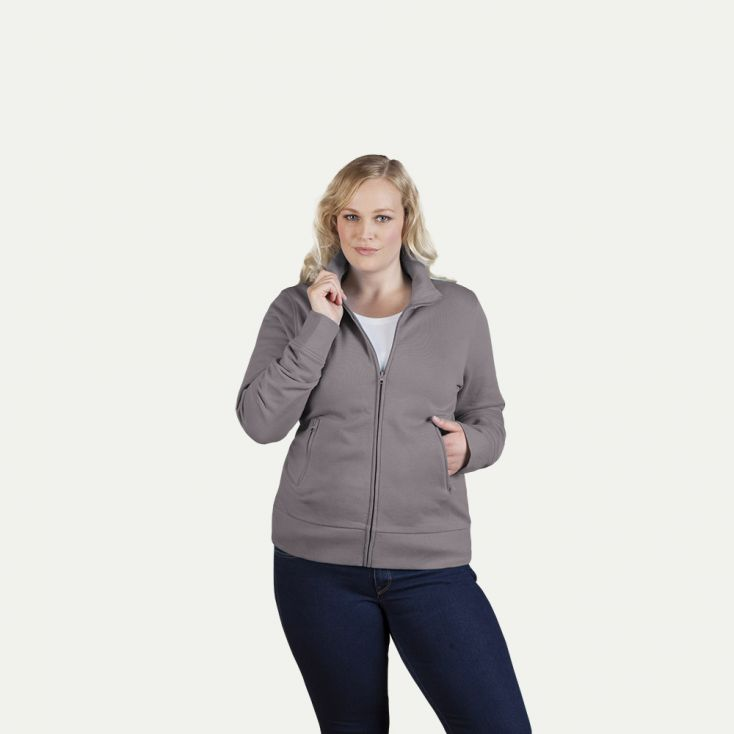 Stehkragen Zip Jacke Plus Size Damen Sale