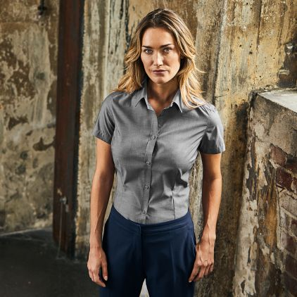 Oxford Kurzarm-Bluse Workwear Damen