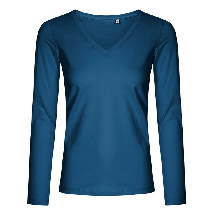 T-shirt manches longues col V grande taille Femmes