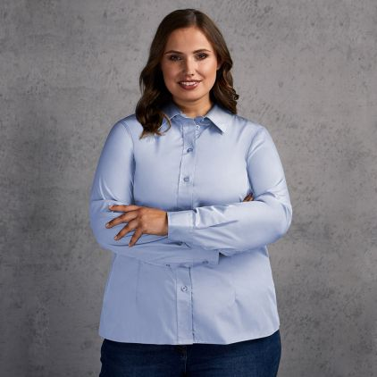Business Langarm-Bluse Plus Size Damen