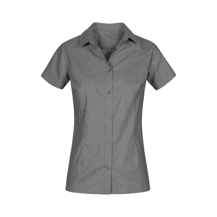 Oxford Kurzarm-Bluse Plus Size Workwear Damen