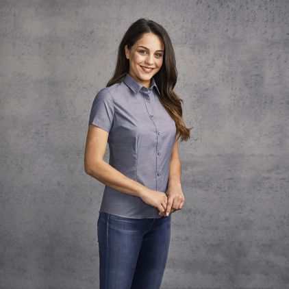 Oxford Kurzarm-Bluse Damen