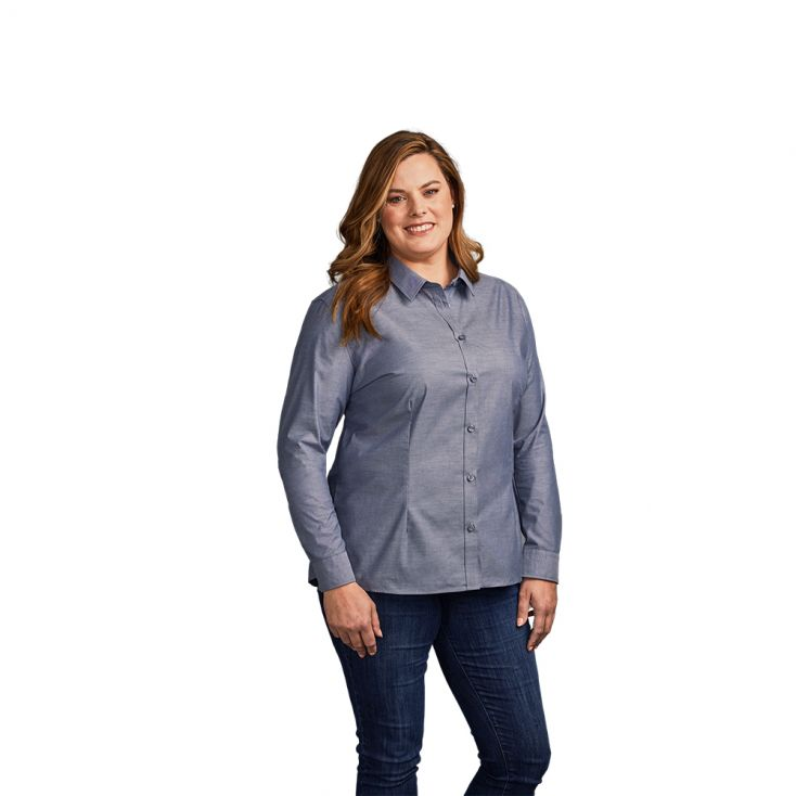 Oxford Langarm-Bluse Plus Size Workwear Damen