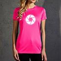 Abbildung eines pinken Sport T-Shirts mit reflektierenden Motiv für Damen
