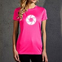 Picture of a pink sports T-shirt with reflective motive for women